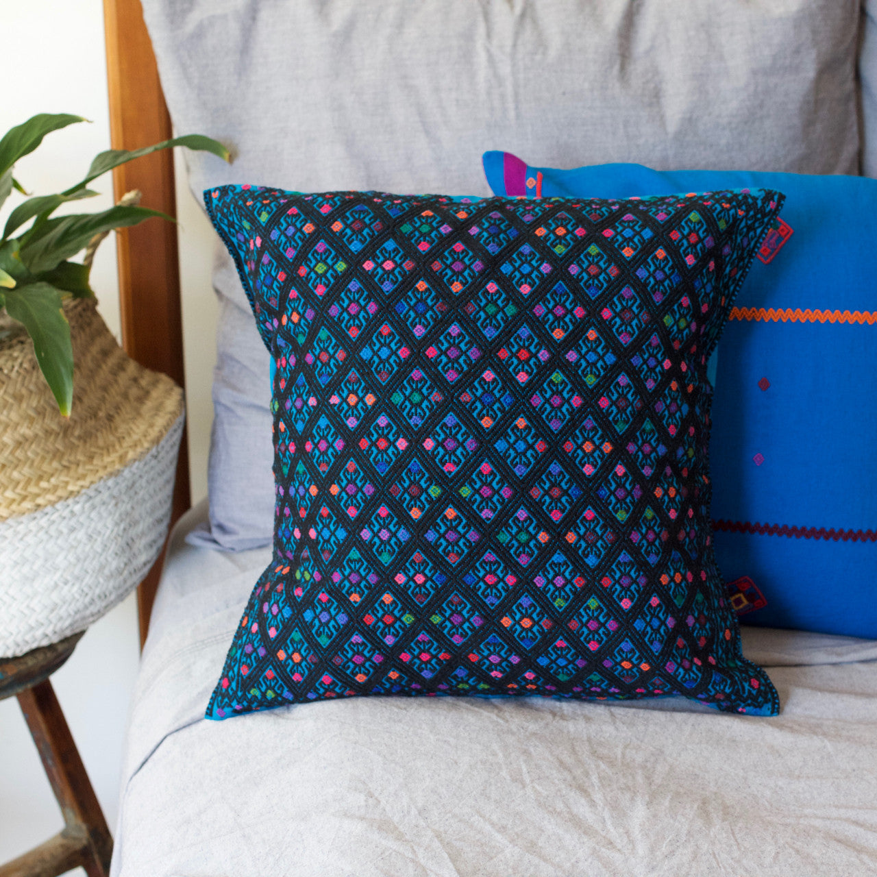 Diamante Cushion 05  Cushion Blue - Cielo Collective handmade Mexico Guatemala