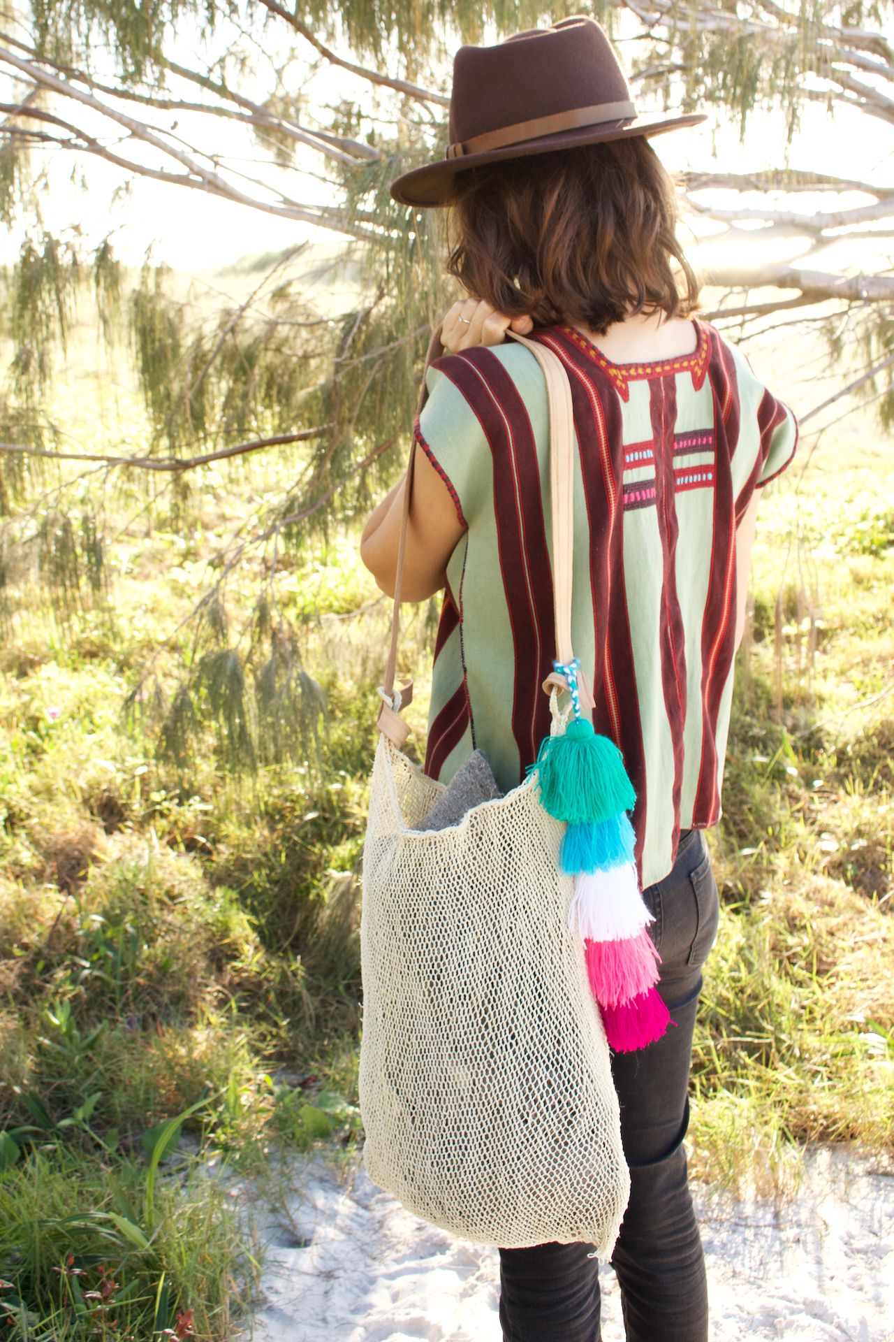 El Mar Net Bag  Shoulder Bag Natural - Cielo Collective handmade Mexico Guatemala