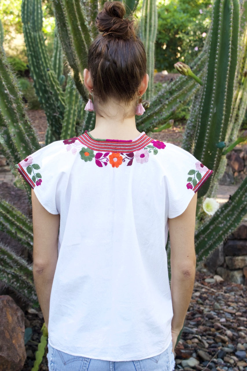 Flor Blouse  Blouse White Earth - Cielo Collective handmade Mexico Guatemala