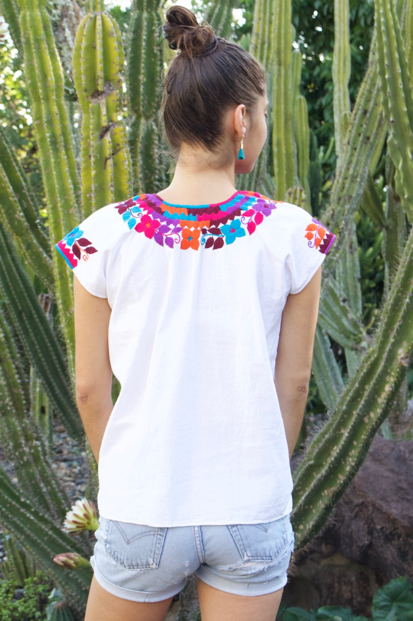 Flor Blouse  Blouse Pink & Blue - Cielo Collective handmade Mexico Guatemala