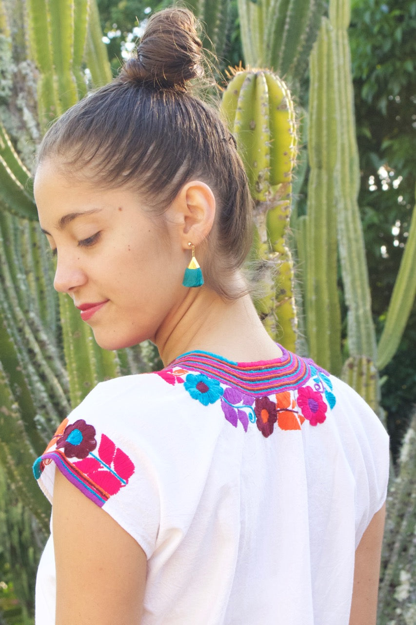 Flor Blouse  Blouse Pink Stripe - Cielo Collective handmade Mexico Guatemala