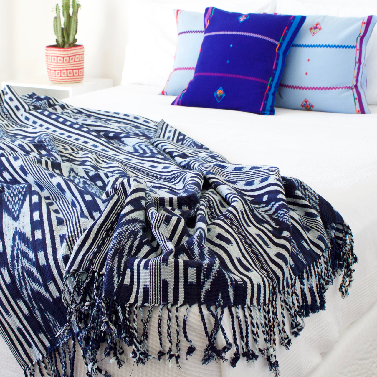 Ikat Throw  Throw Indigo - Cielo Collective handmade Mexico Guatemala