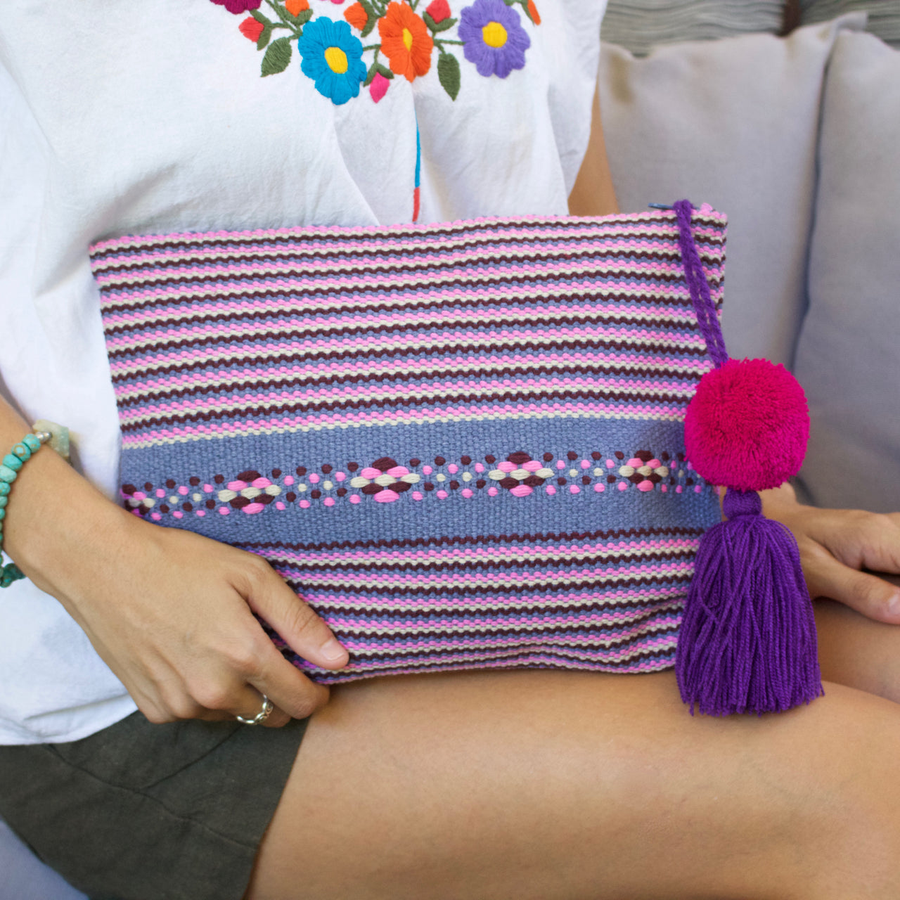 Jalieza Striped Clutch 09  Clutch Purple - Cielo Collective handmade Mexico Guatemala