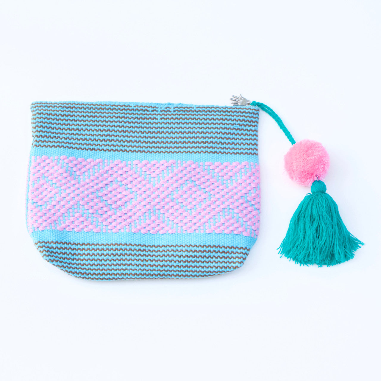 Jalieza Diamond Clutch 34  Clutch Sky Blue - Cielo Collective handmade Mexico Guatemala