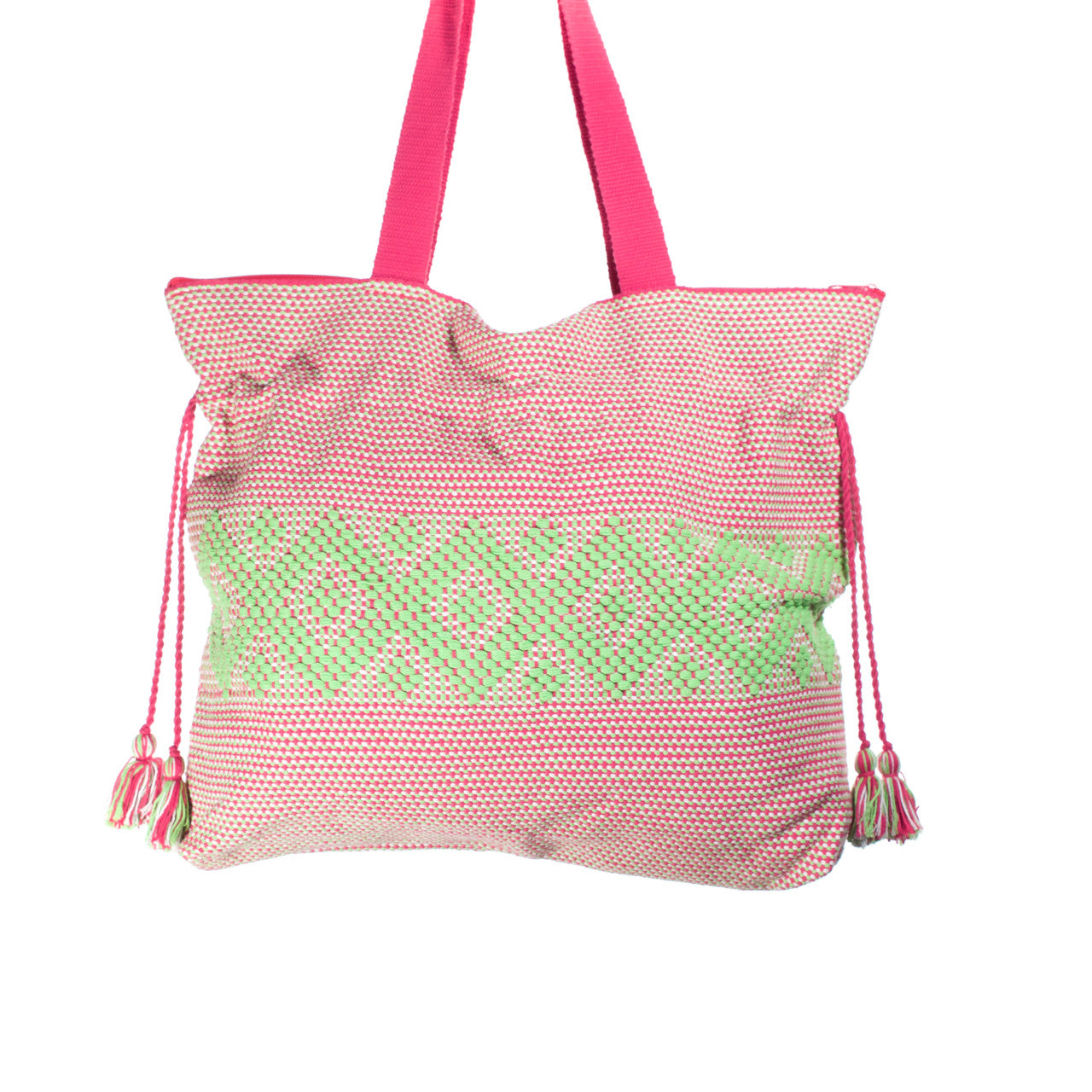 Jalieza Shoulder Bag  Shoulder Bag Lime & Pink - Cielo Collective handmade Mexico Guatemala