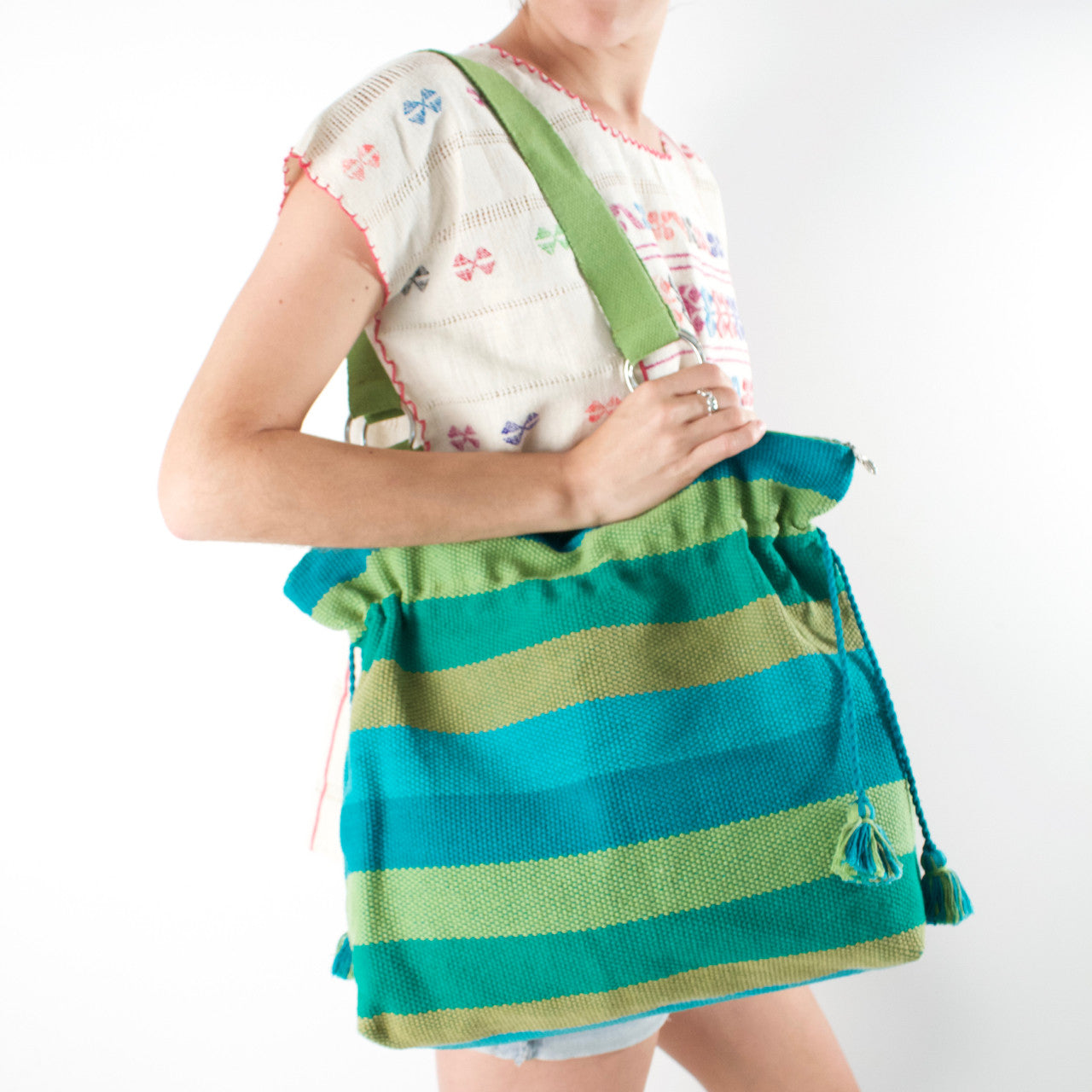 Jalieza Shoulder Bag  Shoulder Bag Green - Cielo Collective handmade Mexico Guatemala