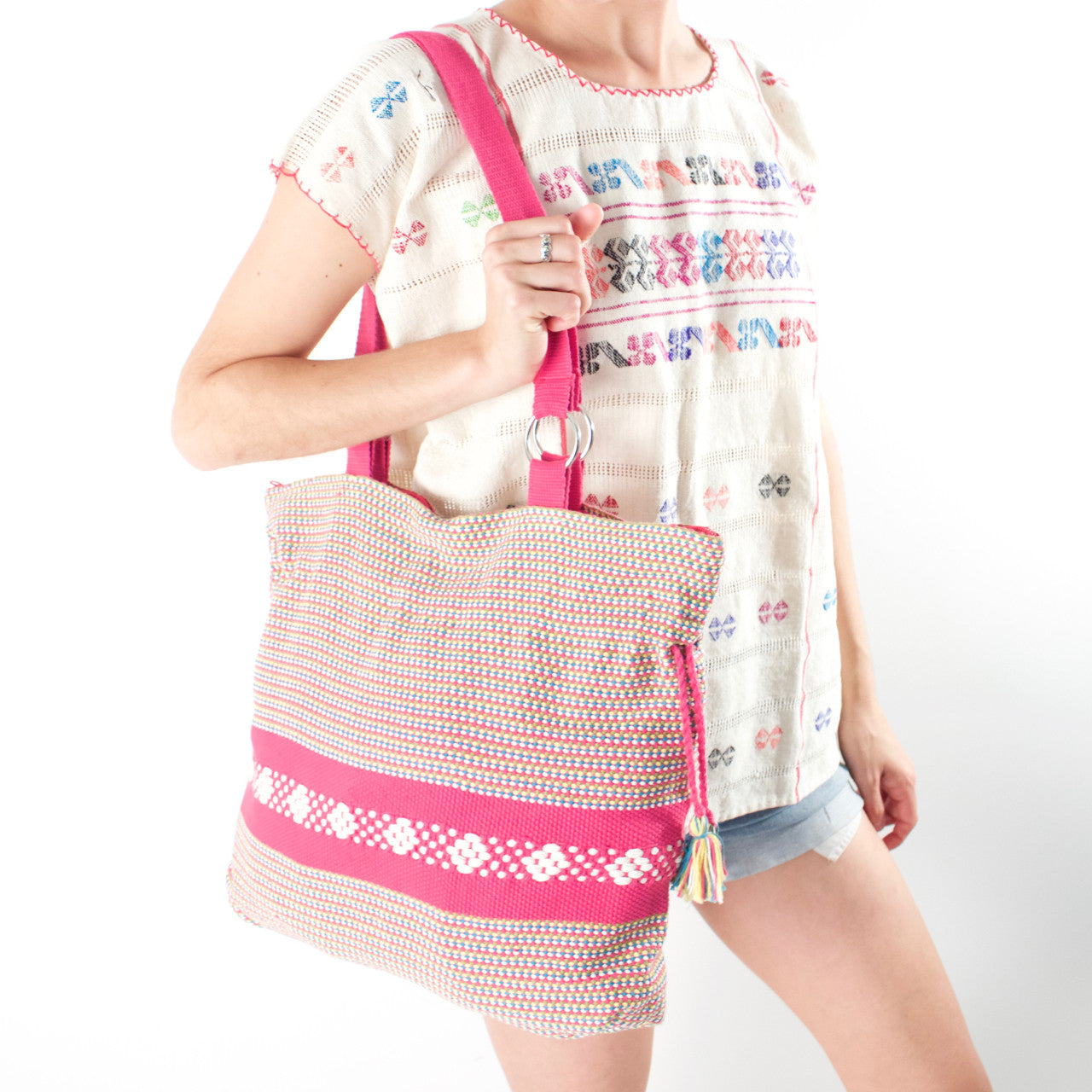 Jalieza Shoulder Bag  Shoulder Bag Pink & Green - Cielo Collective handmade Mexico Guatemala