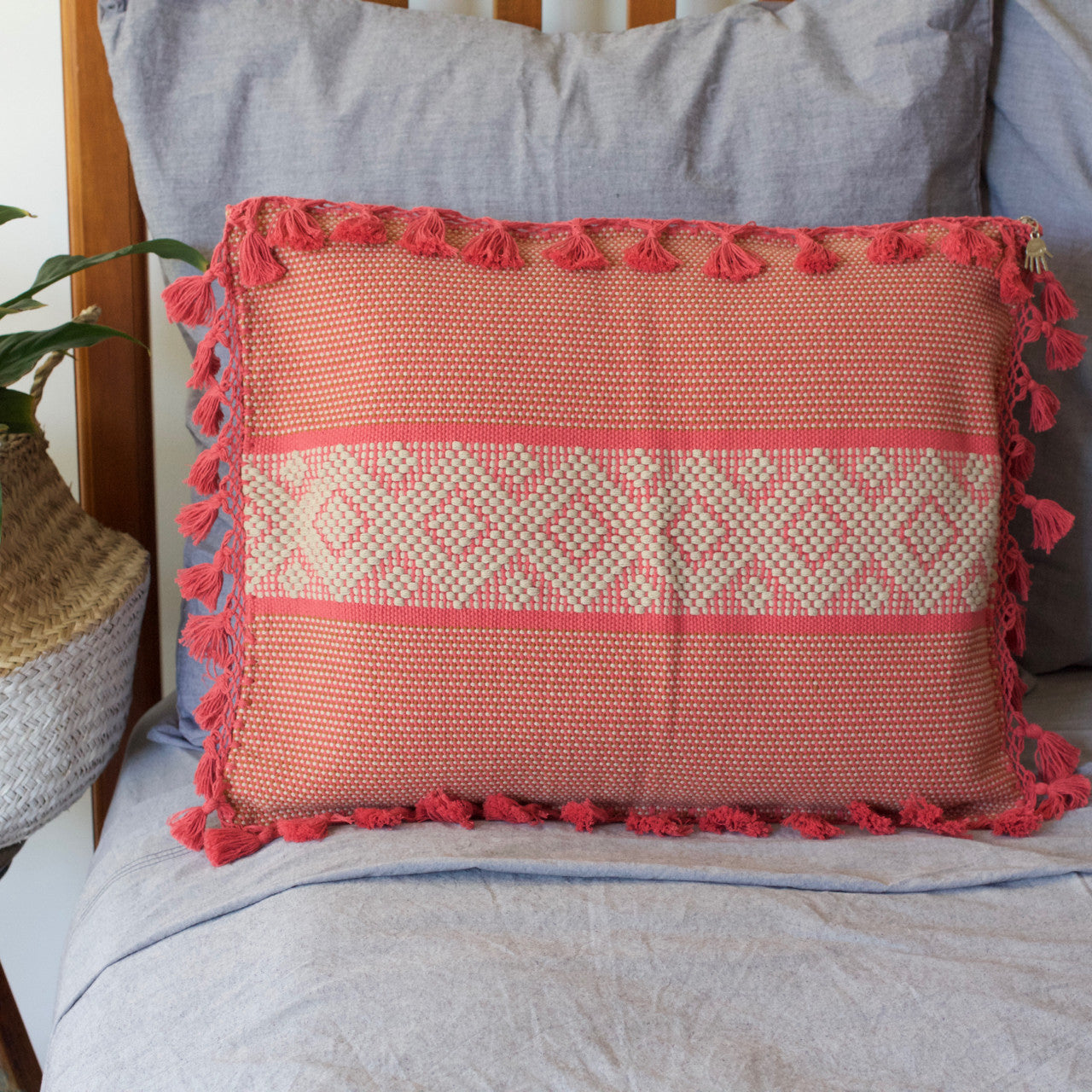 Jalieza Cushion - Large  Cushion Dusty Pink - Cielo Collective handmade Mexico Guatemala
