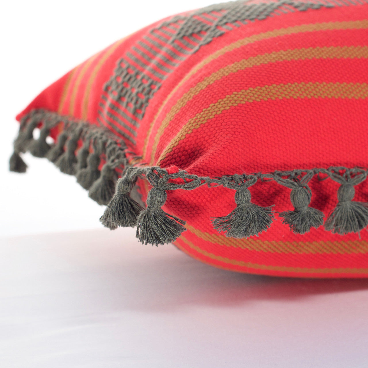 Jalieza Cushion - Large  Cushion Red - Cielo Collective handmade Mexico Guatemala