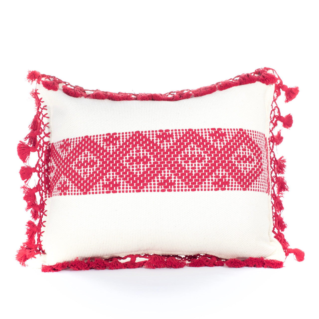 Jalieza Cushion - Large  Cushion Burgundy - Cielo Collective handmade Mexico Guatemala
