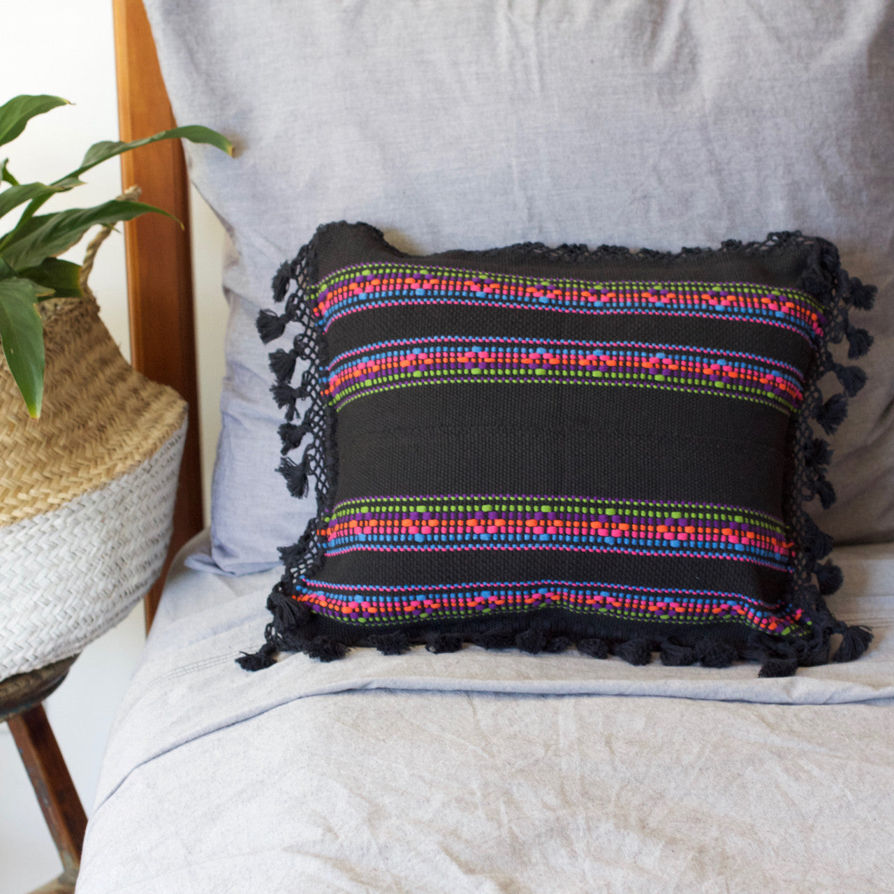 Jalieza Cushion - Small  Cushion Black - Cielo Collective handmade Mexico Guatemala