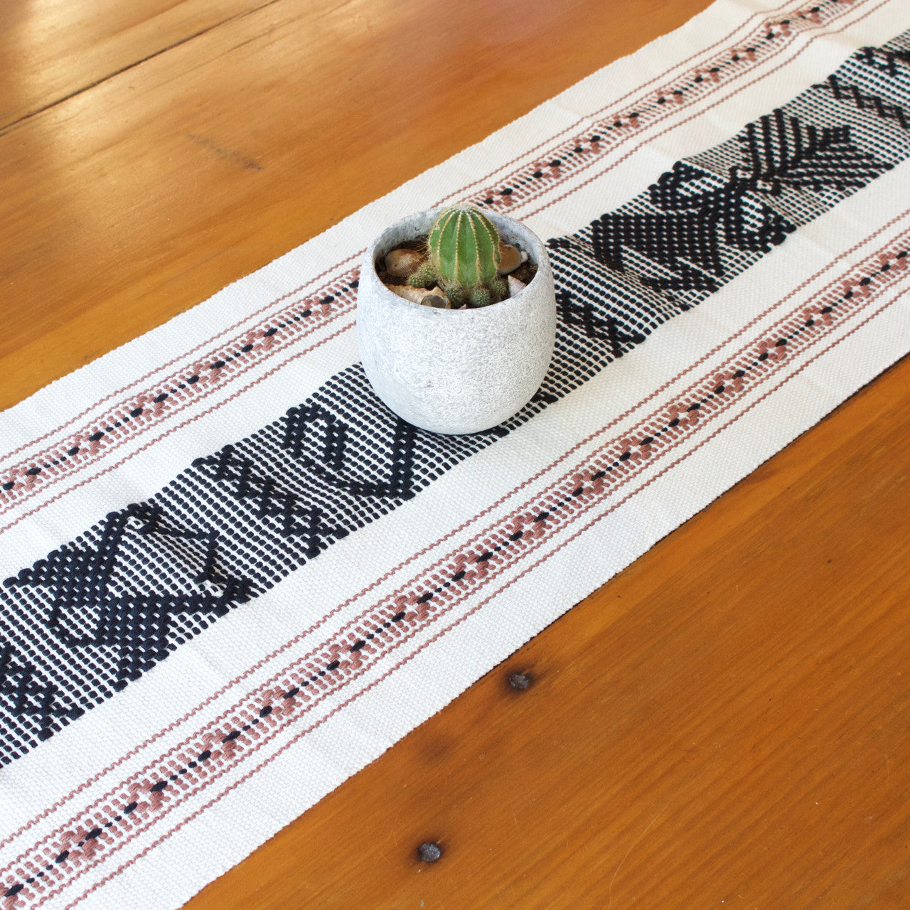 Jalieza Table Runner - Large 04  Table runners Natural with Black & Brown - Cielo Collective handmade Mexico Guatemala