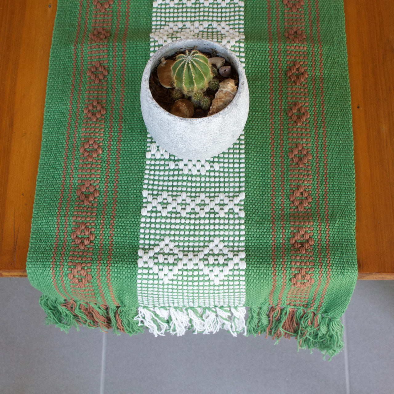 Jalieza Table Runner - Small 08  Table runners Olive Green - Cielo Collective handmade Mexico Guatemala