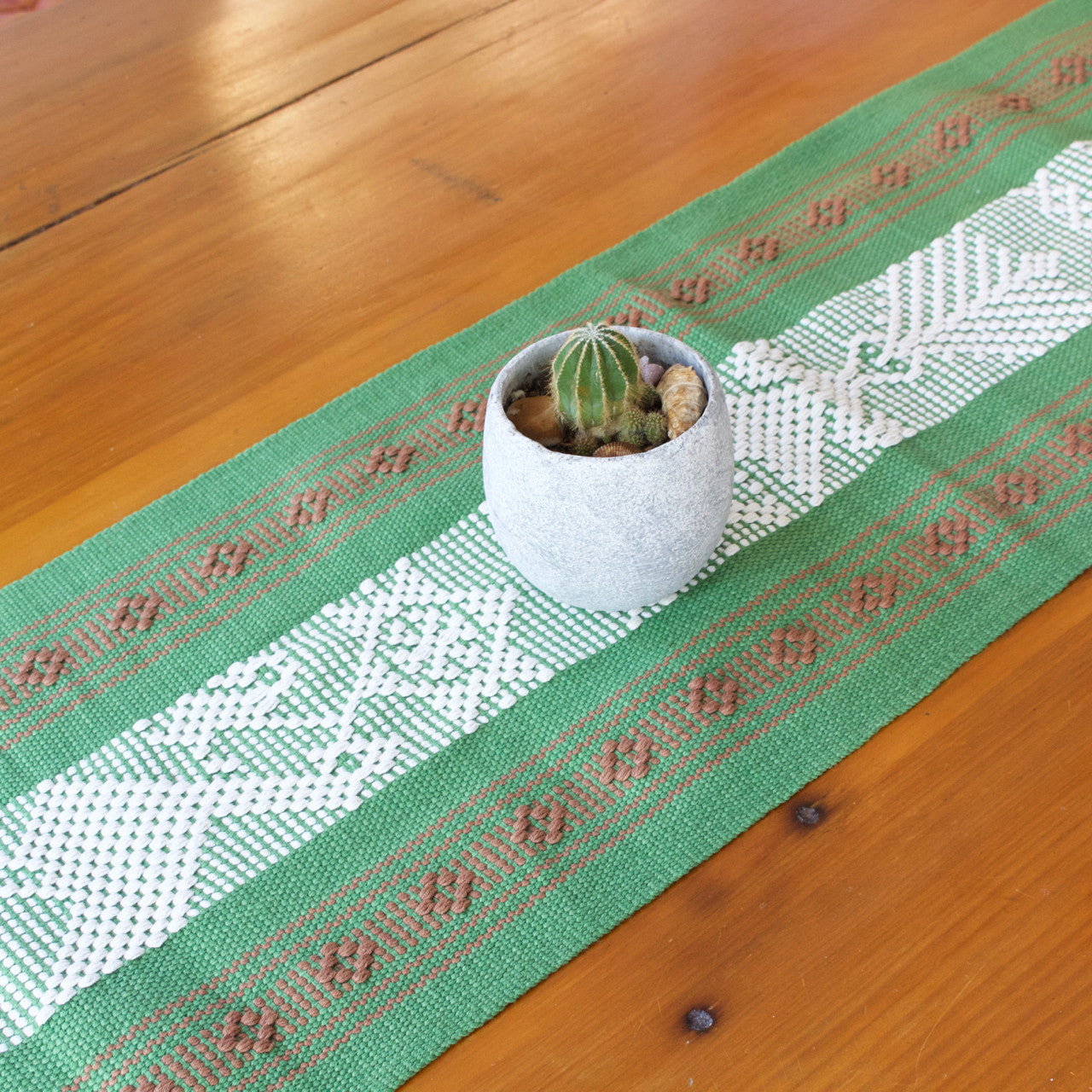 Jalieza Table Runner - Small  Table runners Olive Green - Cielo Collective handmade Mexico Guatemala
