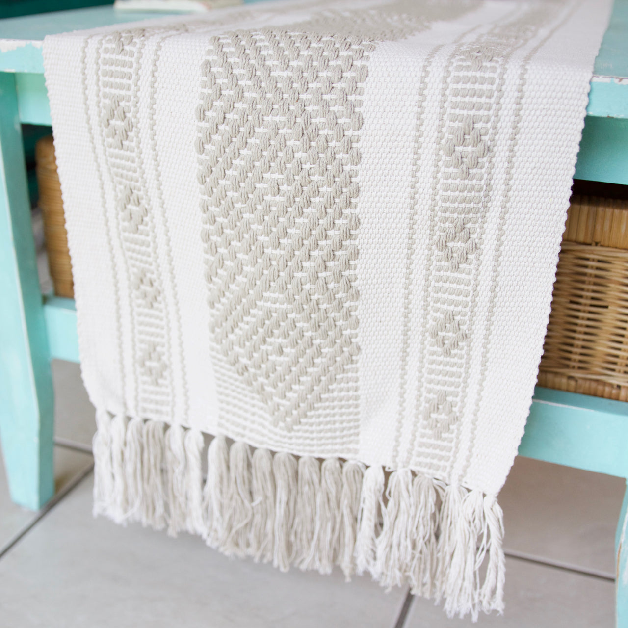 Jalieza Table Runner - Small 19  Table runners Natural - Cielo Collective handmade Mexico Guatemala