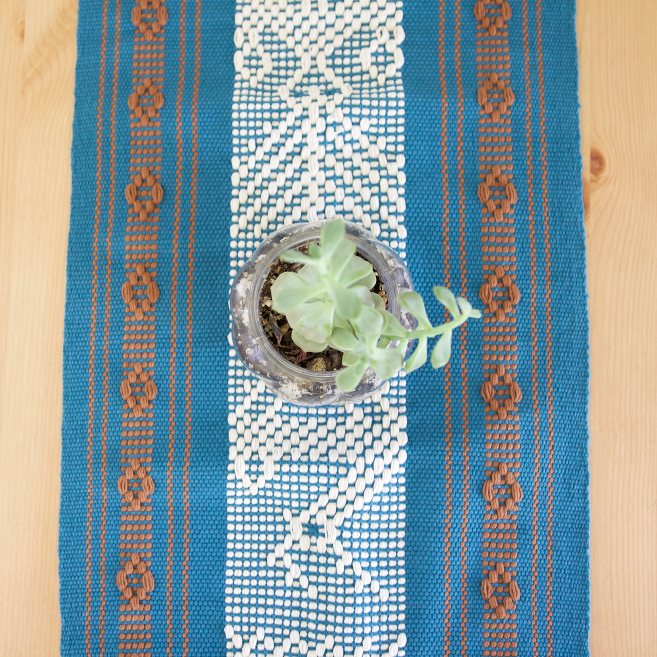 Jalieza Table Runner - Small 18  Table runners Teal - Cielo Collective handmade Mexico Guatemala
