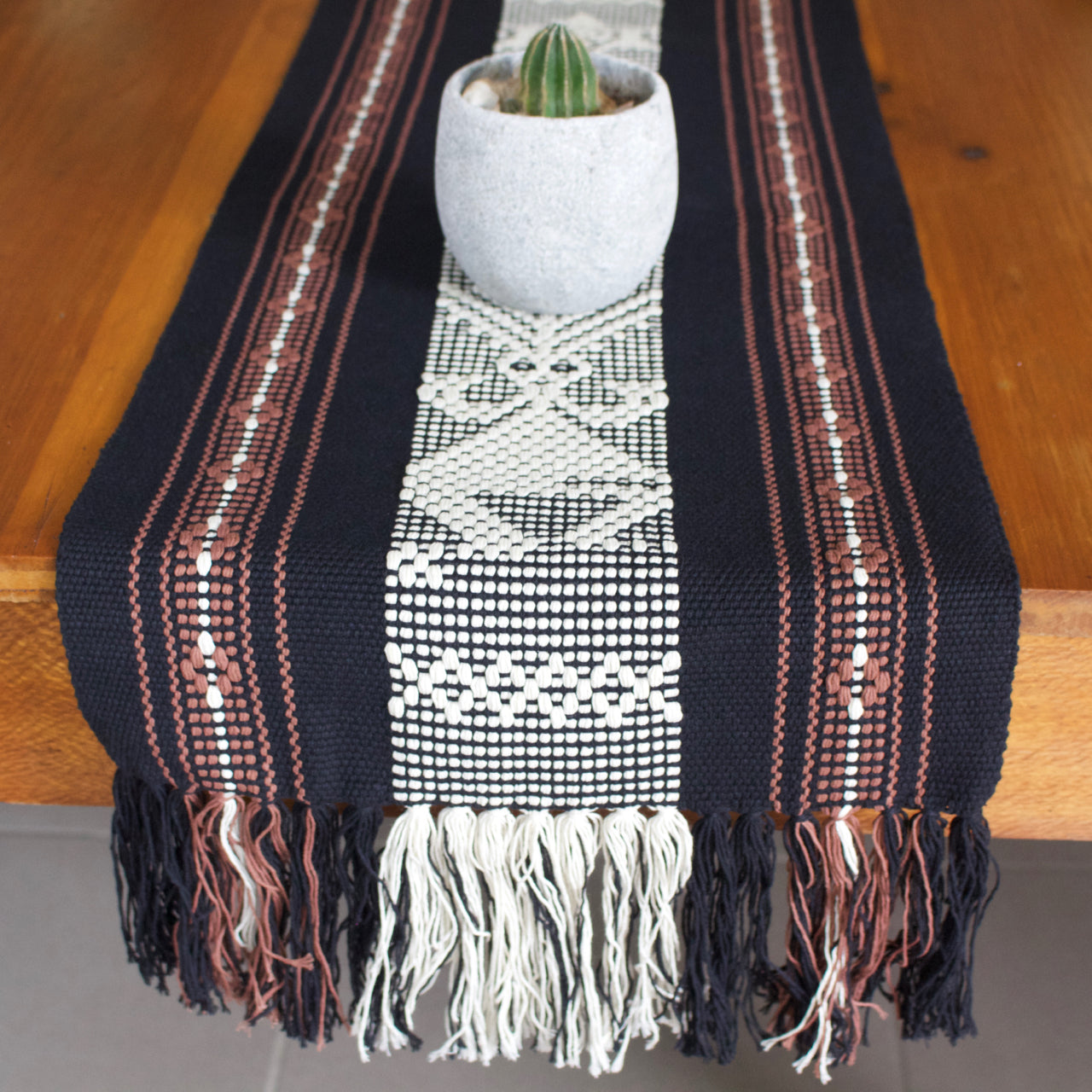 Jalieza Table Runner - Large 03  Table runners Black - Cielo Collective handmade Mexico Guatemala
