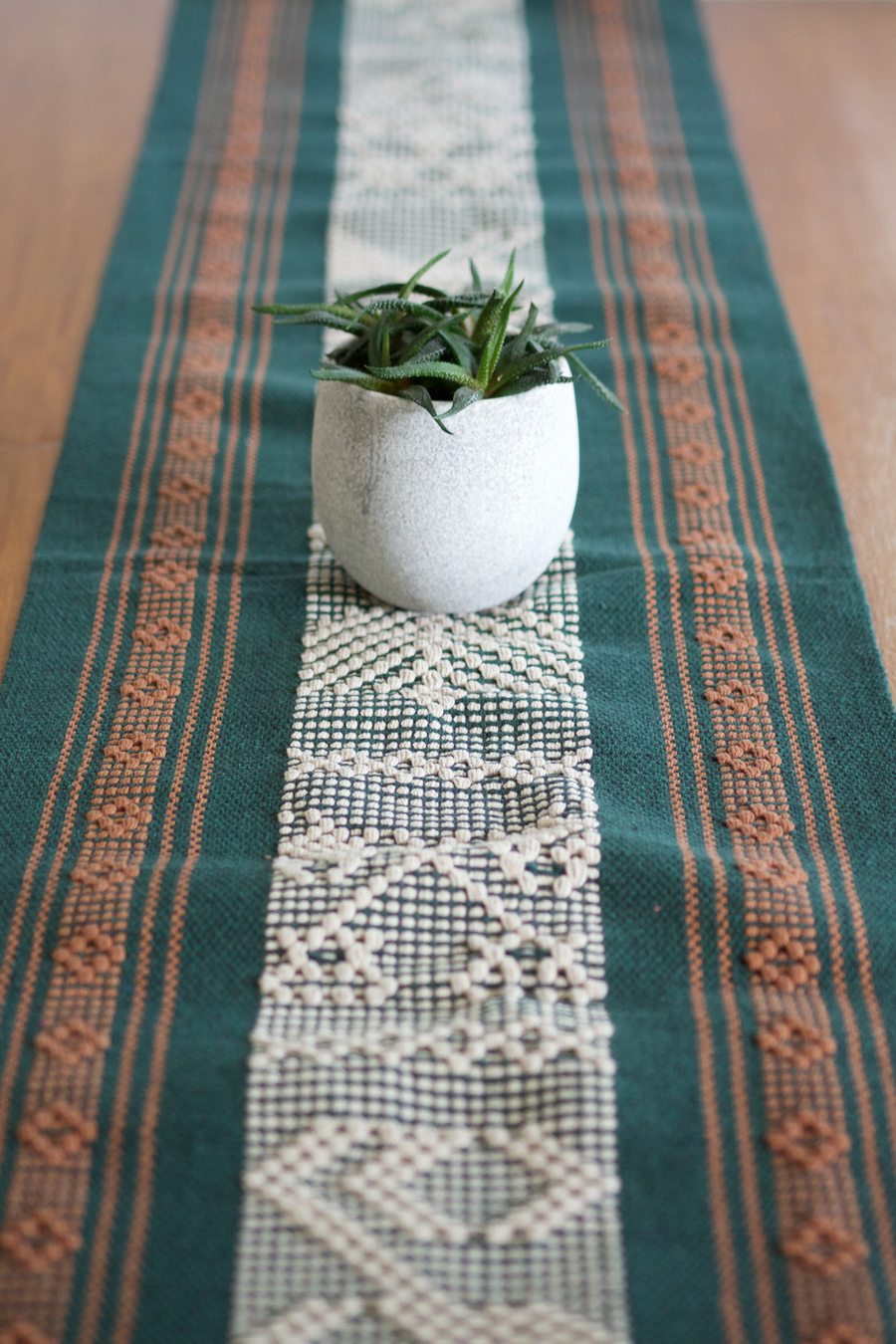 Jalieza Table Runner - Large  Table runners Moss Green - Cielo Collective handmade Mexico Guatemala