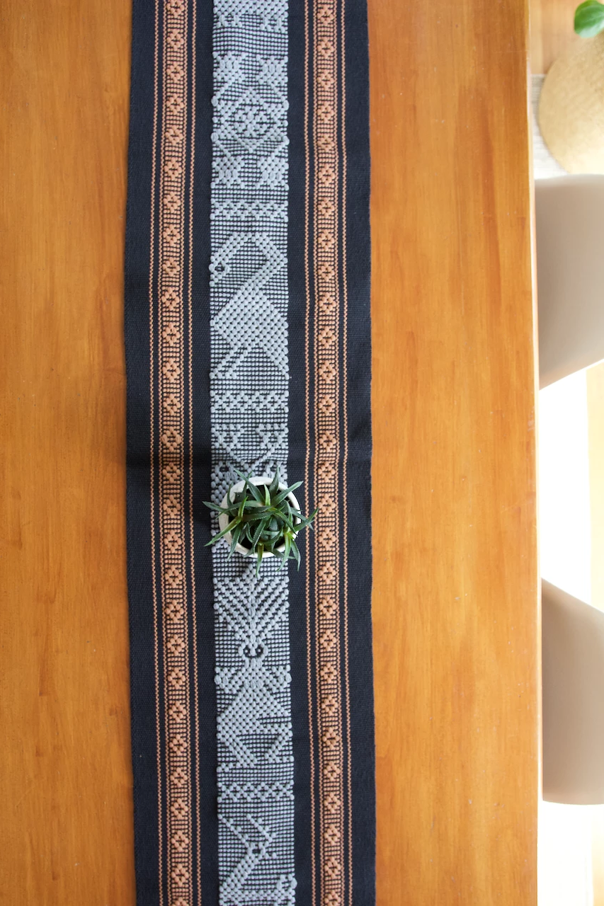 Jalieza Table Runner - Small  Table runners Black - Cielo Collective handmade Mexico Guatemala
