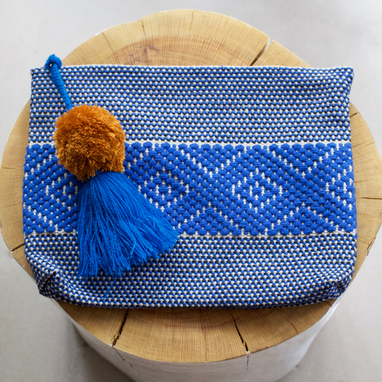 Jalieza Diamond Clutch 45  Clutch Blue - Cielo Collective handmade Mexico Guatemala