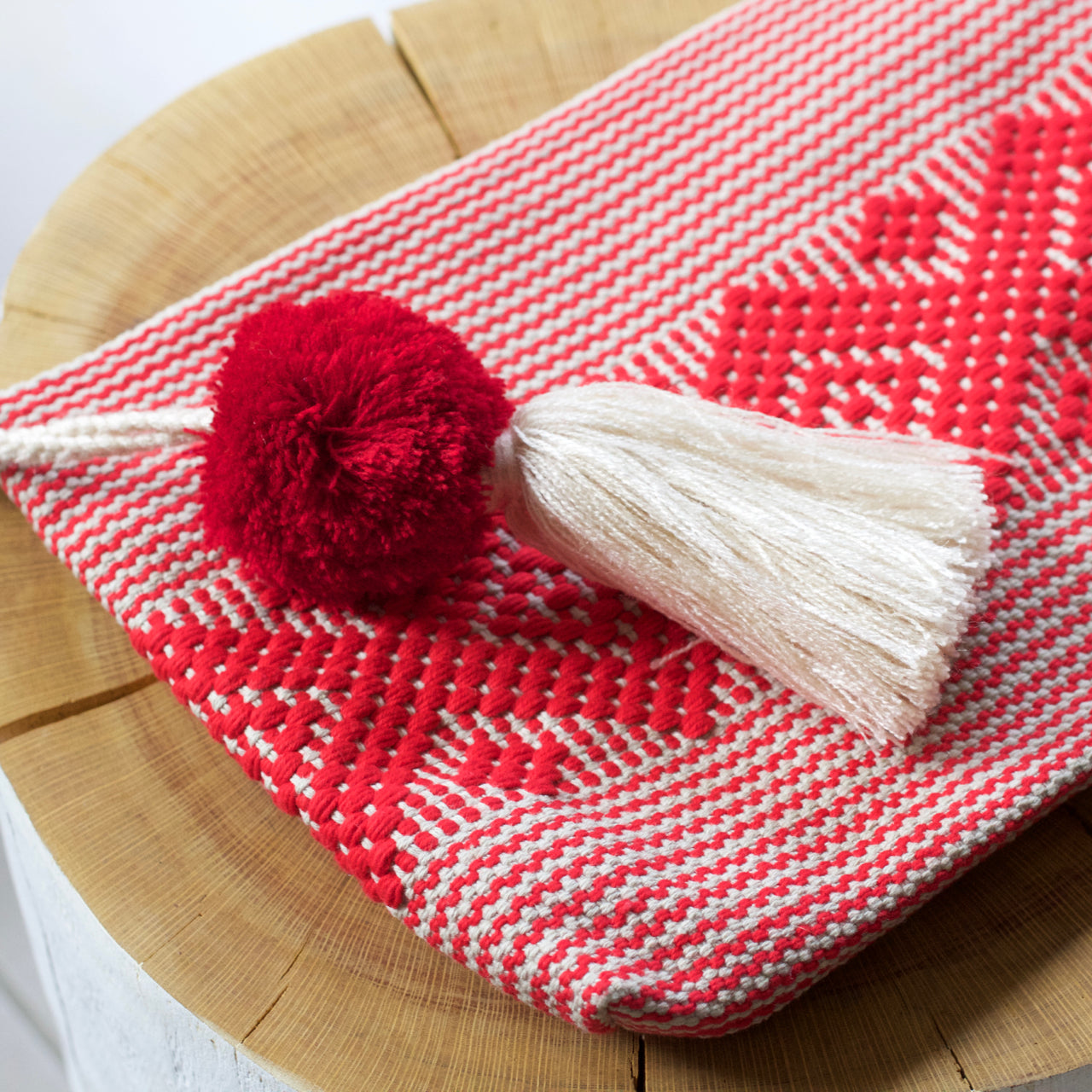 Jalieza Diamond Clutch 44  Clutch Red & Cream - Cielo Collective handmade Mexico Guatemala