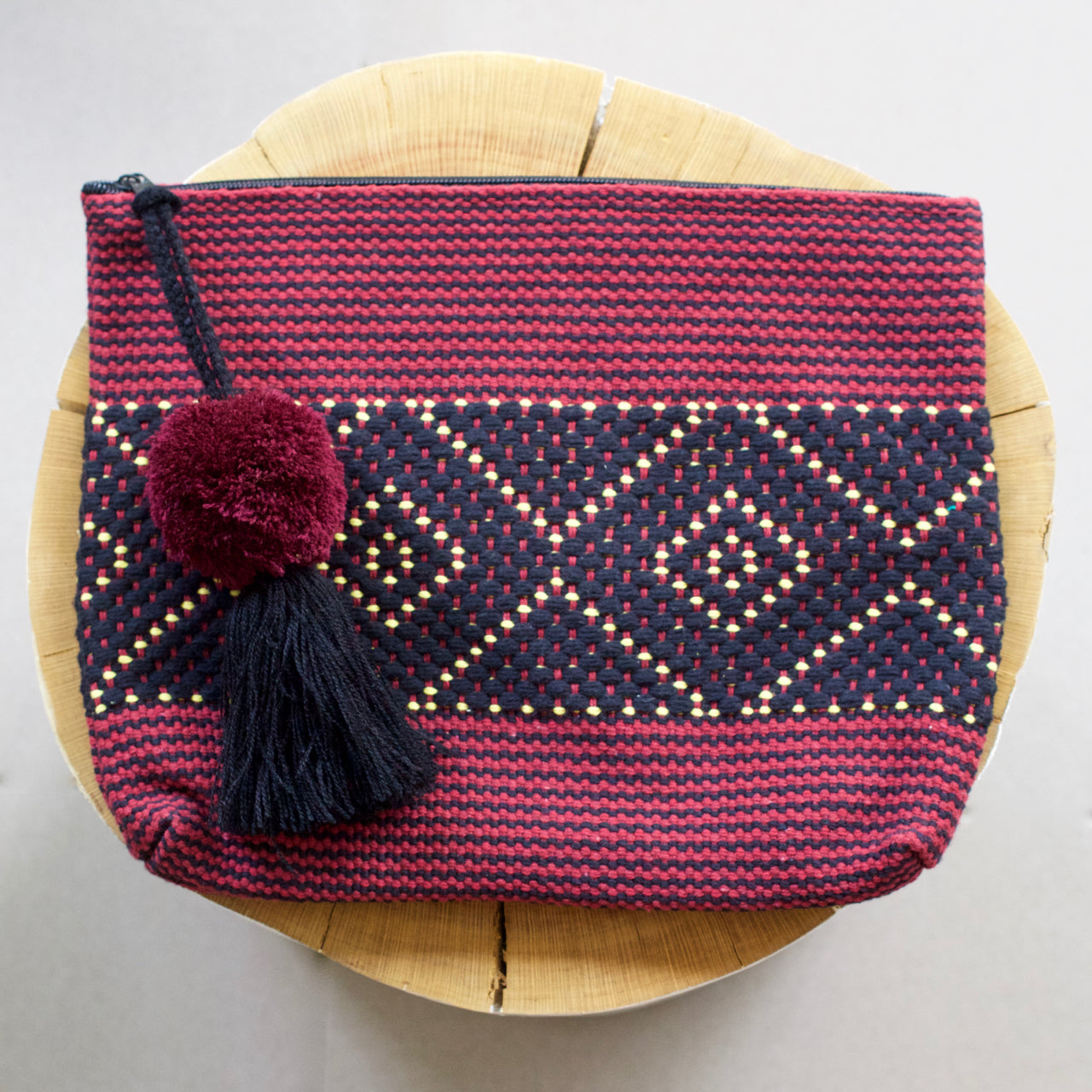 Jalieza Diamond Clutch 49  Clutch Burgundy - Cielo Collective handmade Mexico Guatemala
