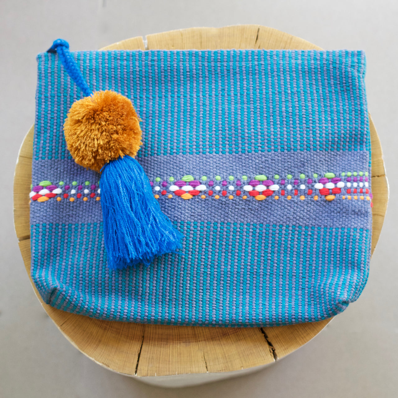 Jalieza Striped Clutch 12  Clutch Blue - Cielo Collective handmade Mexico Guatemala