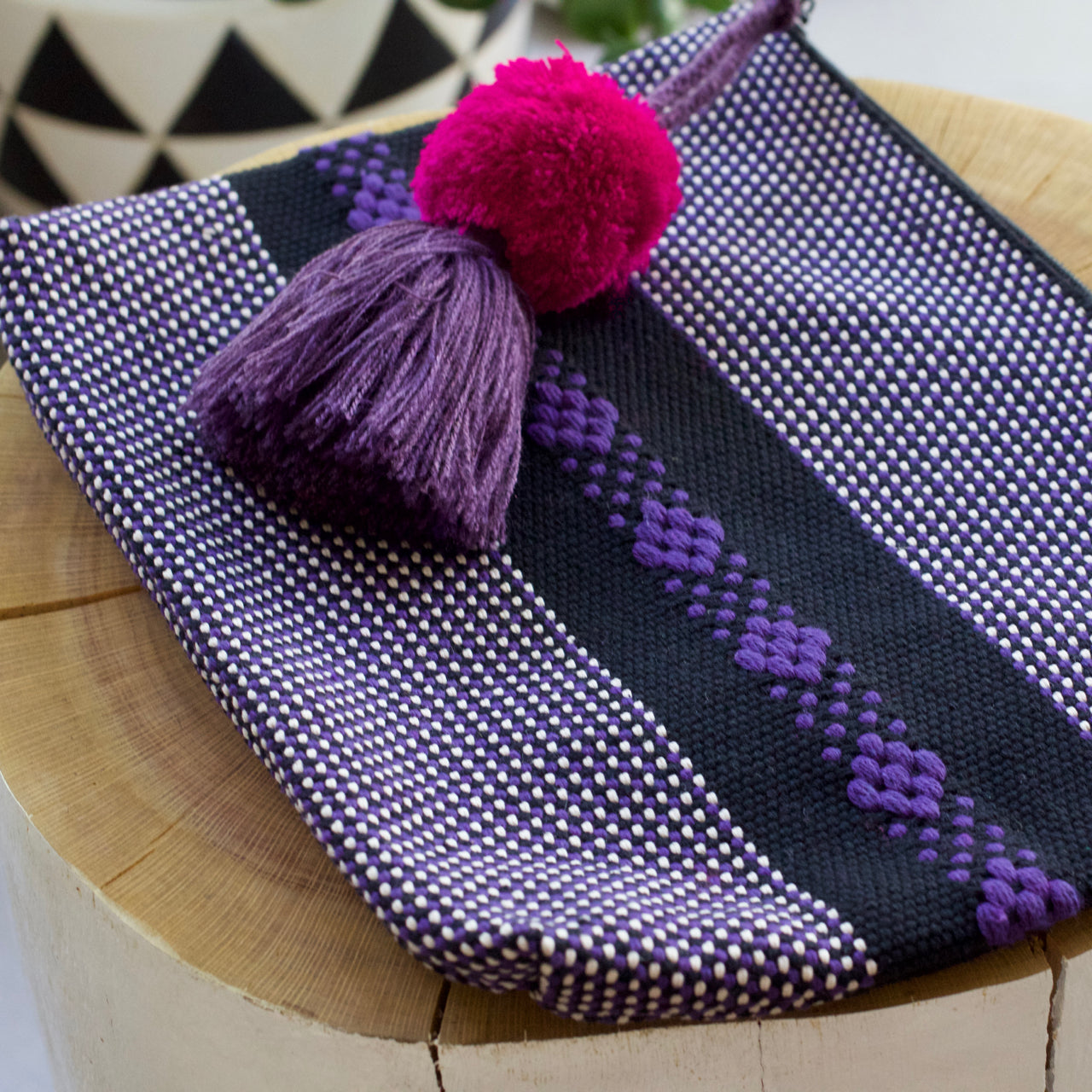 Jalieza Striped Clutch 13  Clutch Black & Purple - Cielo Collective handmade Mexico Guatemala