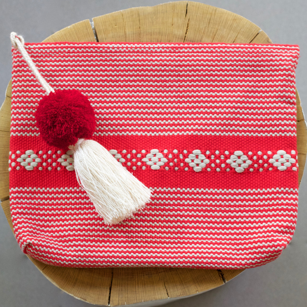 Jalieza Striped Clutch 10  Clutch Red - Cielo Collective handmade Mexico Guatemala