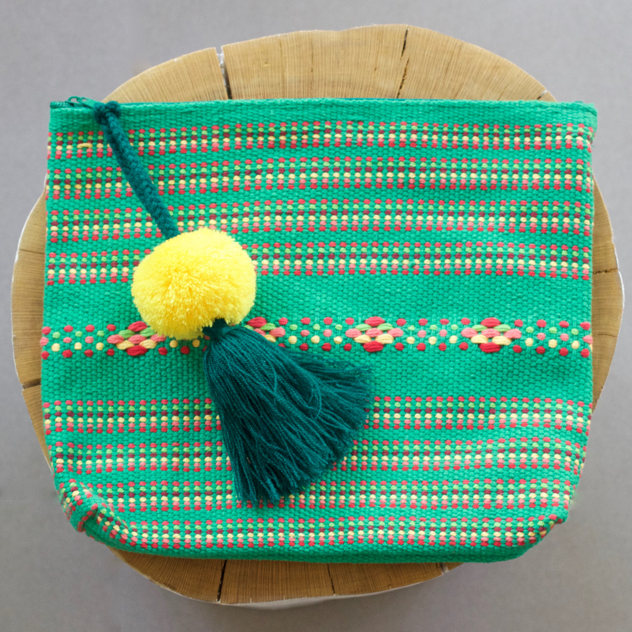 Jalieza Striped Clutch 14  Clutch Green - Cielo Collective handmade Mexico Guatemala