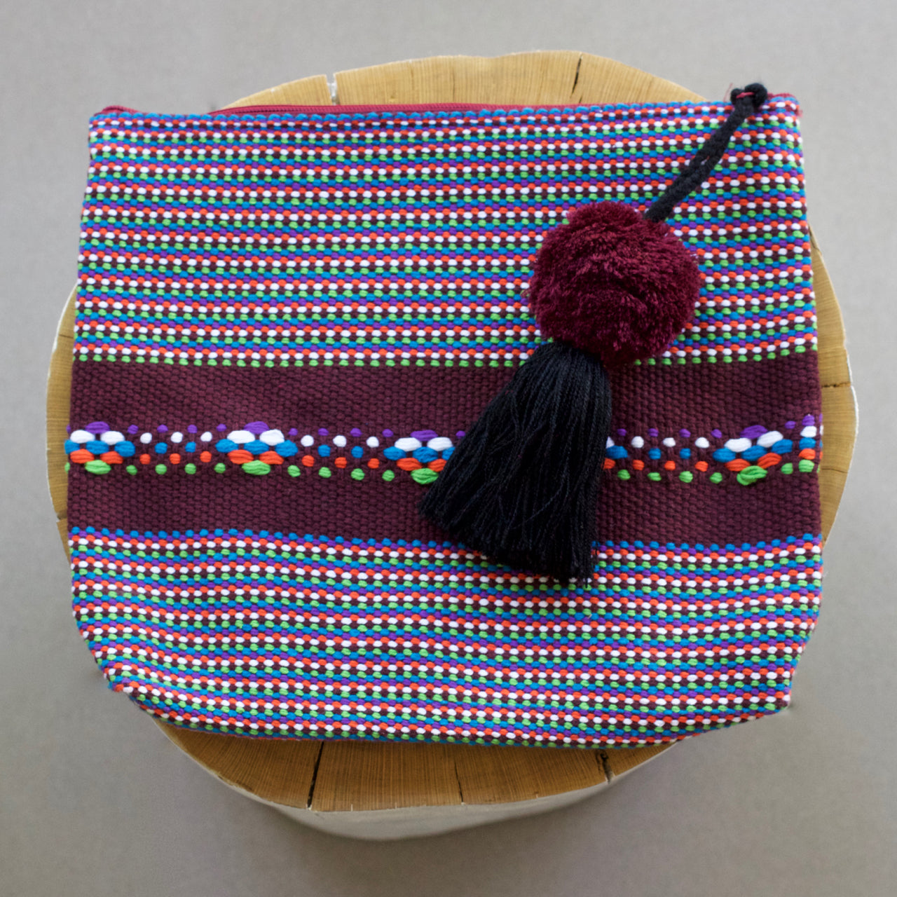 Jalieza Striped Clutch 15  Clutch Burgundy - Cielo Collective handmade Mexico Guatemala