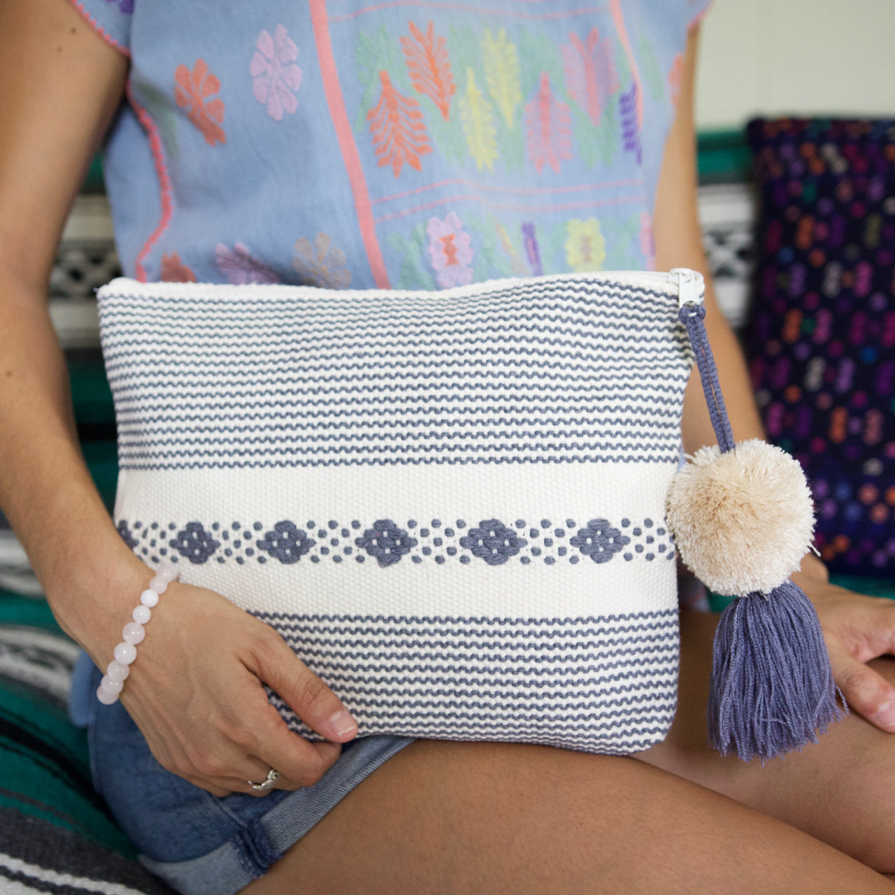 Jalieza Striped Clutch 17  Clutch White - Cielo Collective handmade Mexico Guatemala