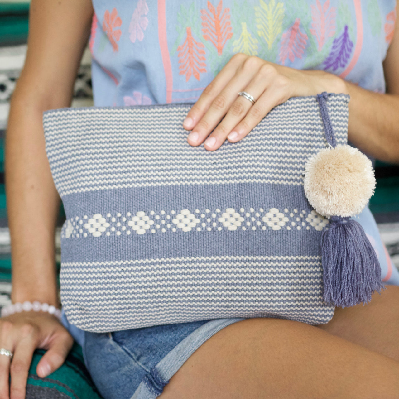 Jalieza Striped Clutch 16  Clutch Grey - Cielo Collective handmade Mexico Guatemala
