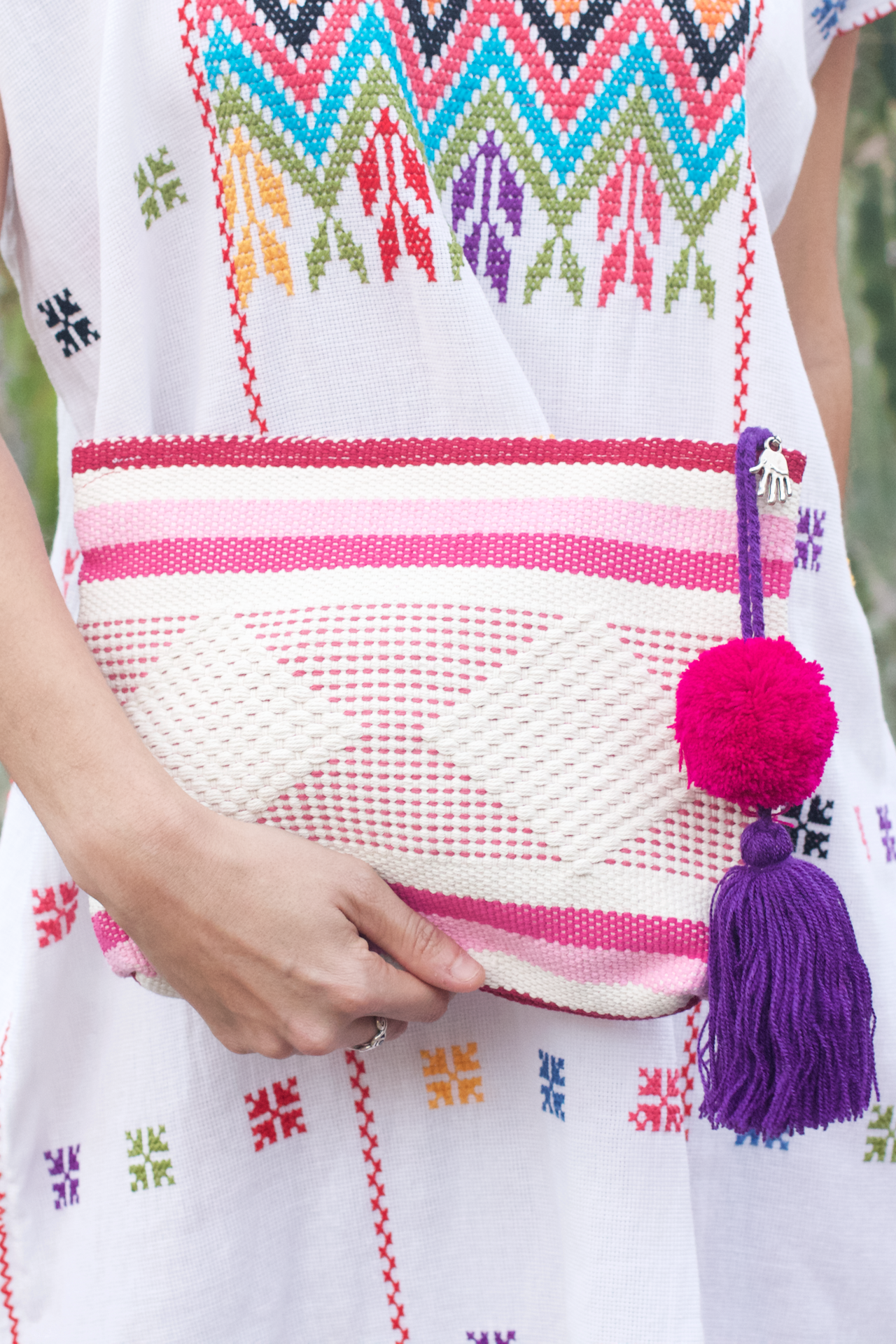 Jalieza Diamond Clutch - Pink  Clutch Rose - Cielo Collective handmade Mexico Guatemala
