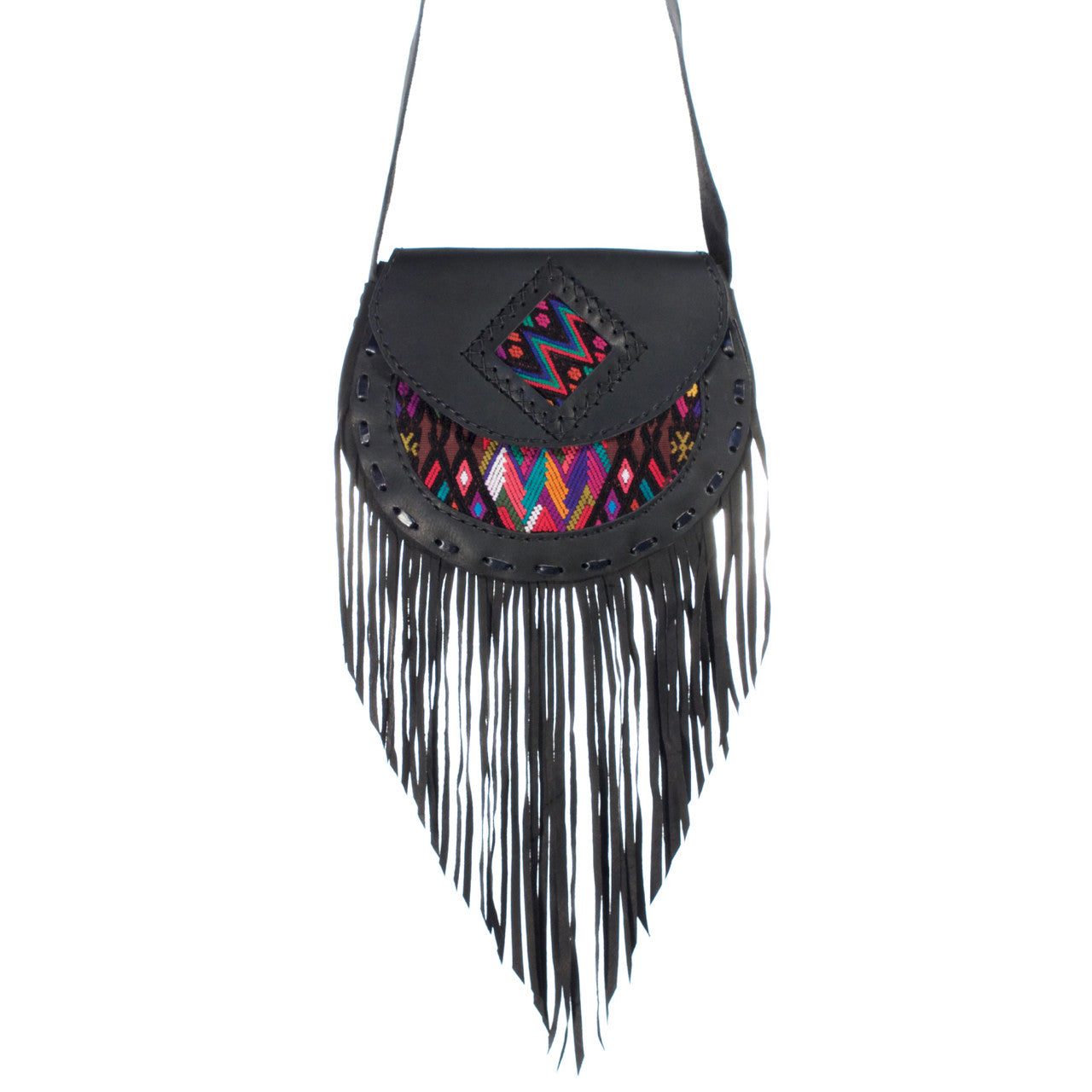 Solola Fringe Bag - Black  Shoulder Bag Multi Zigzag - Cielo Collective handmade Mexico Guatemala