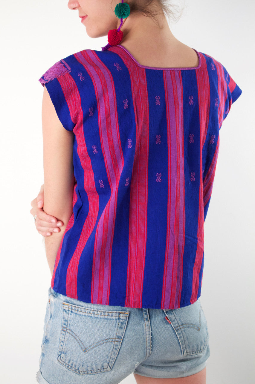 Pantelho Huipil  Blouse Blue and Pink - Cielo Collective handmade Mexico Guatemala