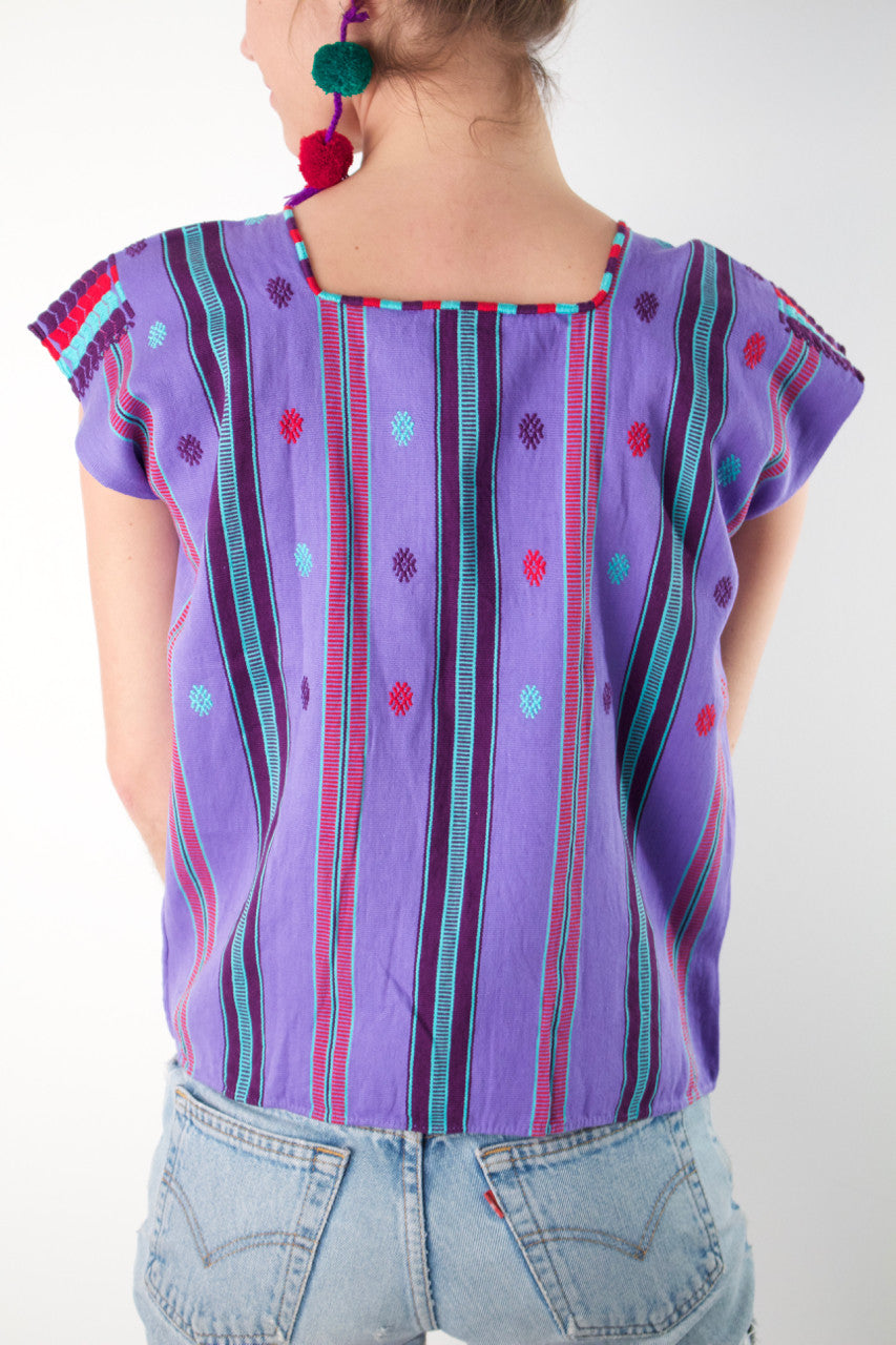 Pantelho Blouse  Blouse Violet and Mint - Cielo Collective handmade with tradition creativity and integrity