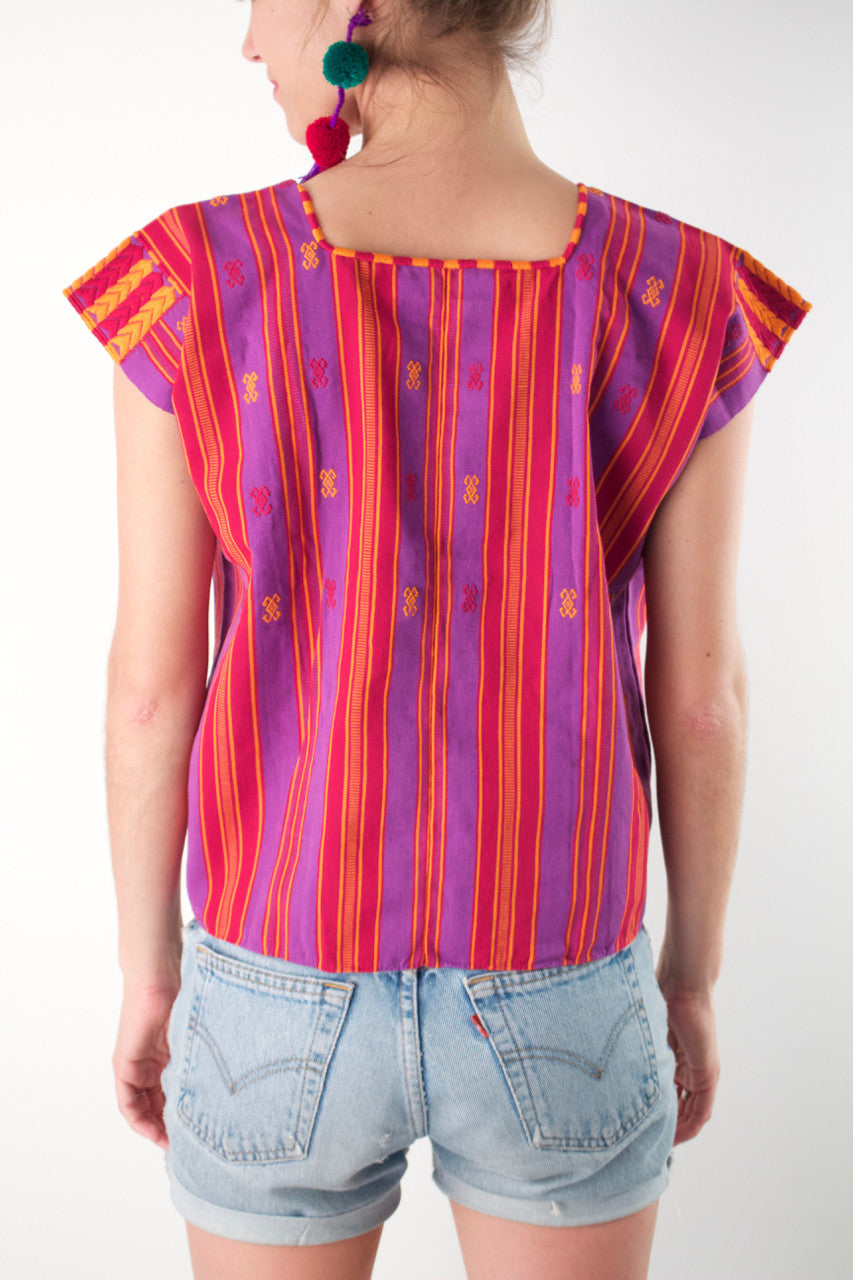 Pantelho Huipil  Blouse Purple and Orange - Cielo Collective handmade Mexico Guatemala
