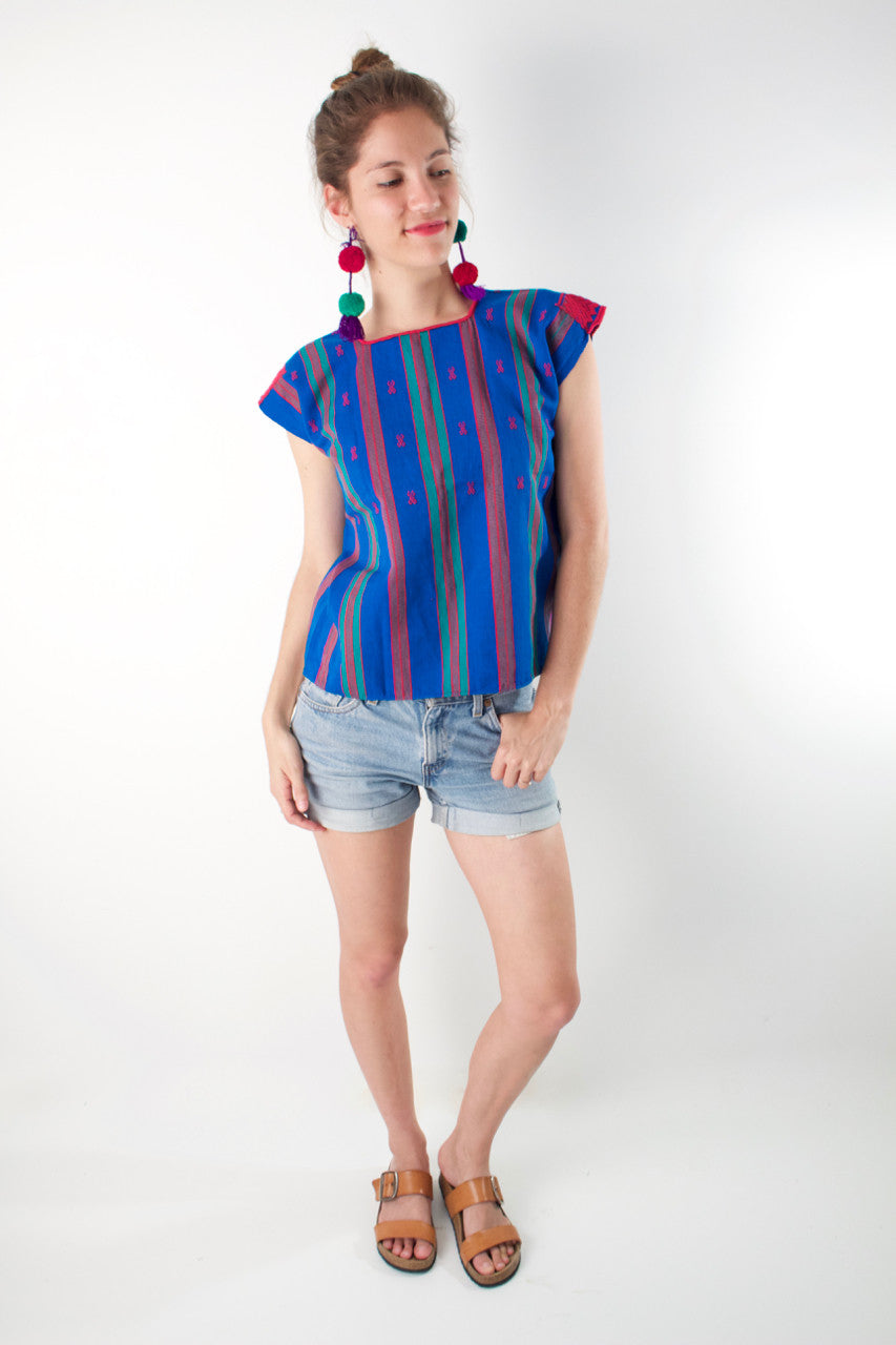 Pantelho Huipil  Blouse Blue and Turquoise - Cielo Collective handmade Mexico Guatemala