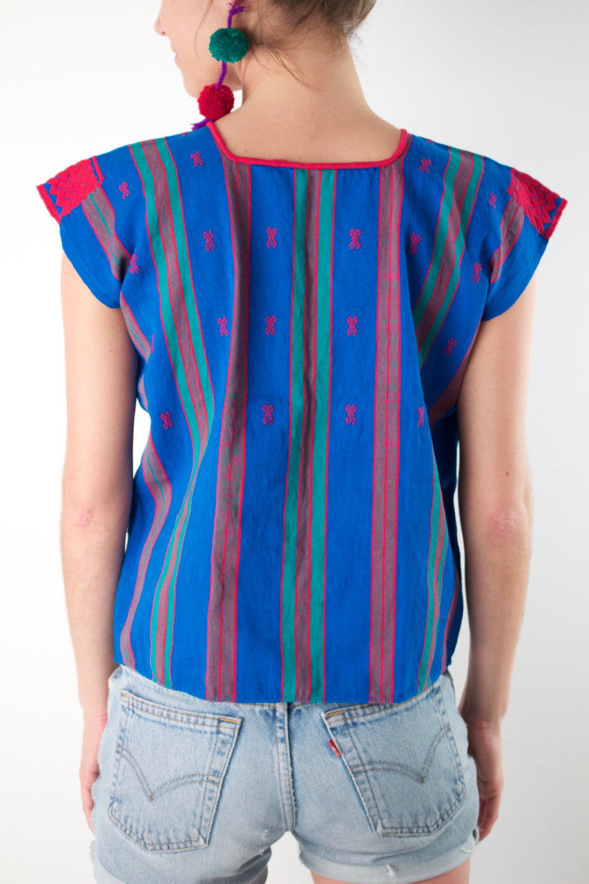 Pantelho Blouse  Blouse Blue and Turquoise - Cielo Collective handmade with tradition creativity and integrity