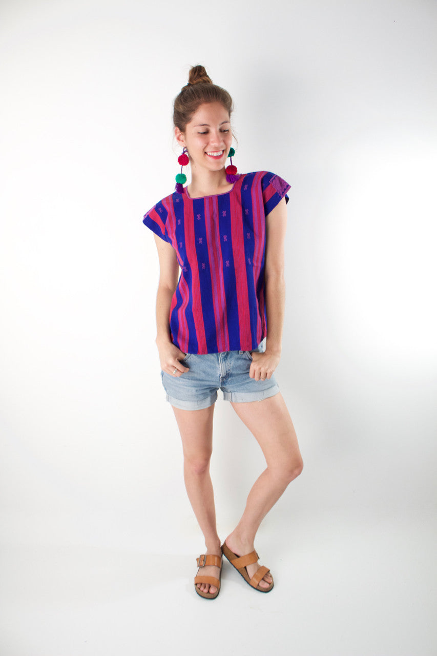 Pantelho Blouse  Blouse Blue and Pink - Cielo Collective handmade with tradition creativity and integrity