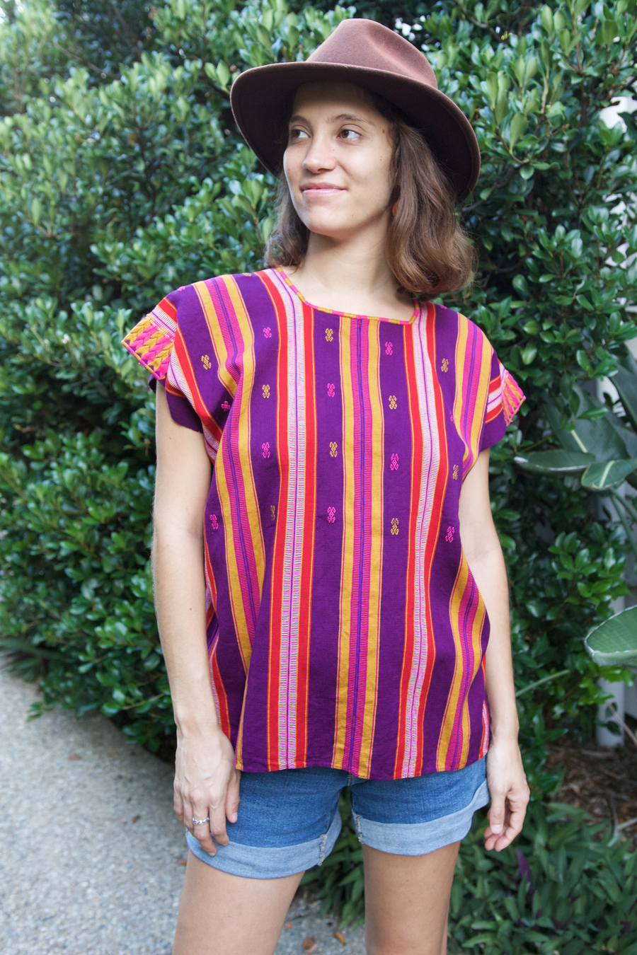 Pantelho Huipil  Blouse Purple and Mustard - Cielo Collective handmade Mexico Guatemala