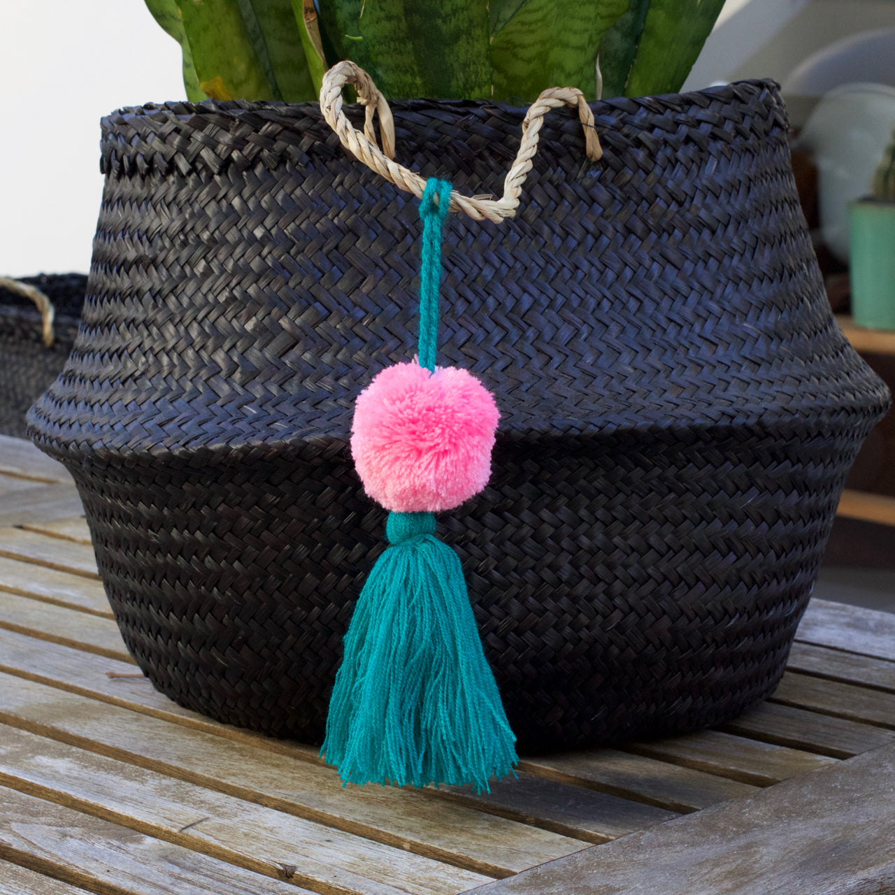 Pom Pom 01  Decor Turquoise & Pink - Cielo Collective handmade Mexico Guatemala