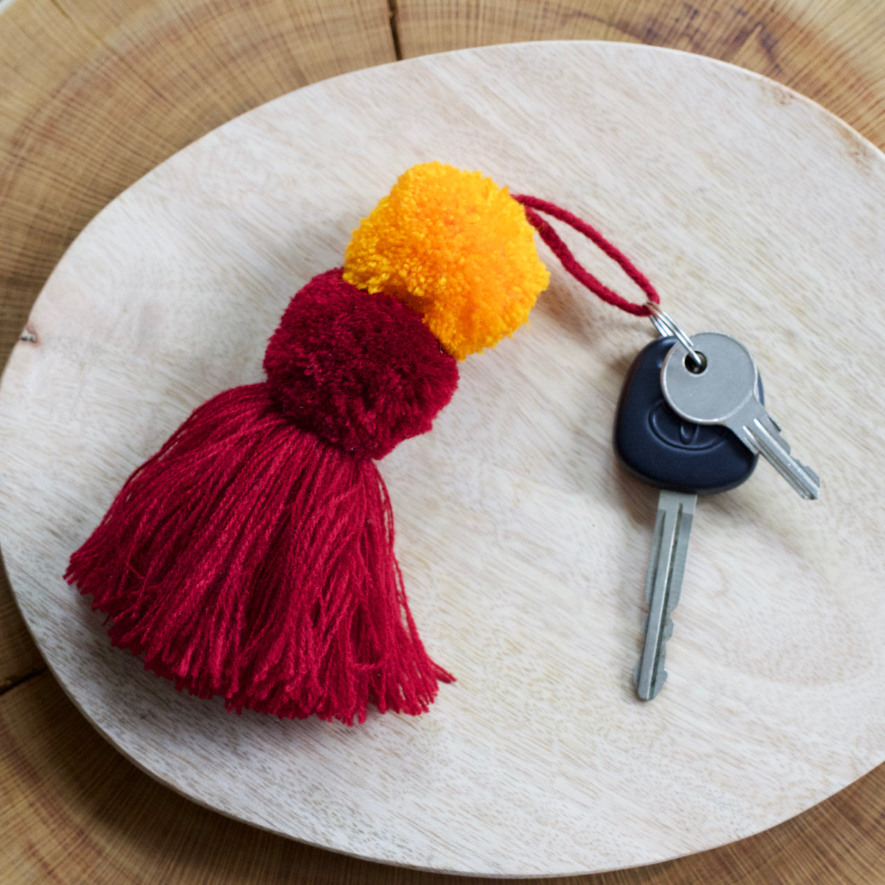 Pom Pom Key Ring 05  Key Ring Red & Orange - Cielo Collective handmade with tradition creativity and integrity