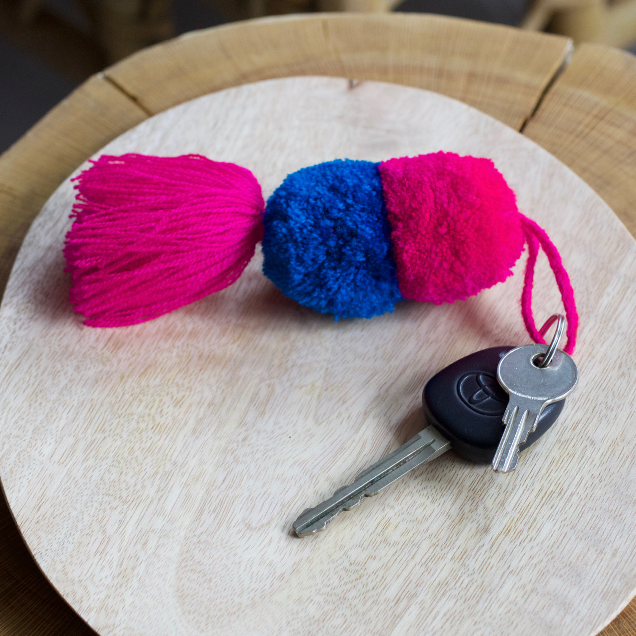 Pom Pom Key Ring 02  Key Ring Pink & Blue - Cielo Collective handmade Mexico Guatemala