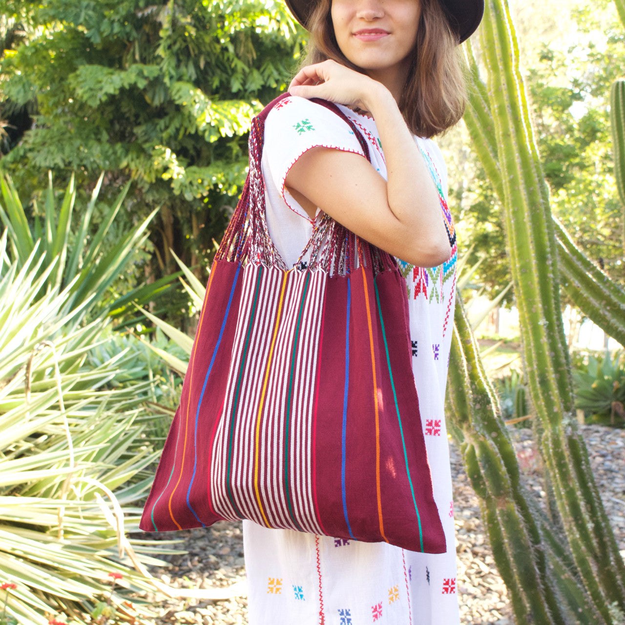 Raya Shoulder Bag  Shoulder Bag Burgundy - Cielo Collective handmade Mexico Guatemala