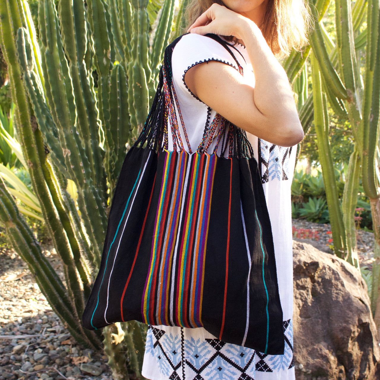 Raya Shoulder Bag  Shoulder Bag Black - Cielo Collective handmade Mexico Guatemala
