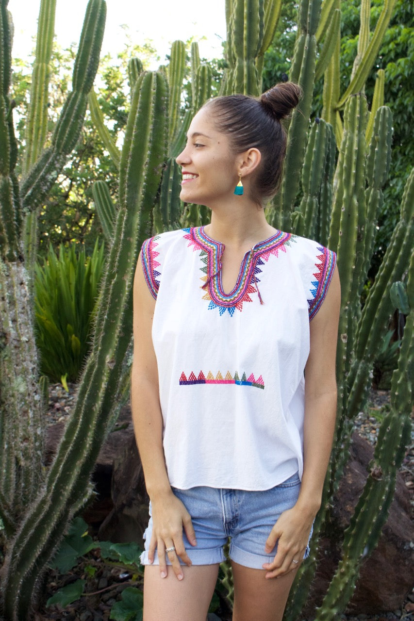 Rayos Sleeveless Blouse  Blouse White - Cielo Collective handmade Mexico Guatemala