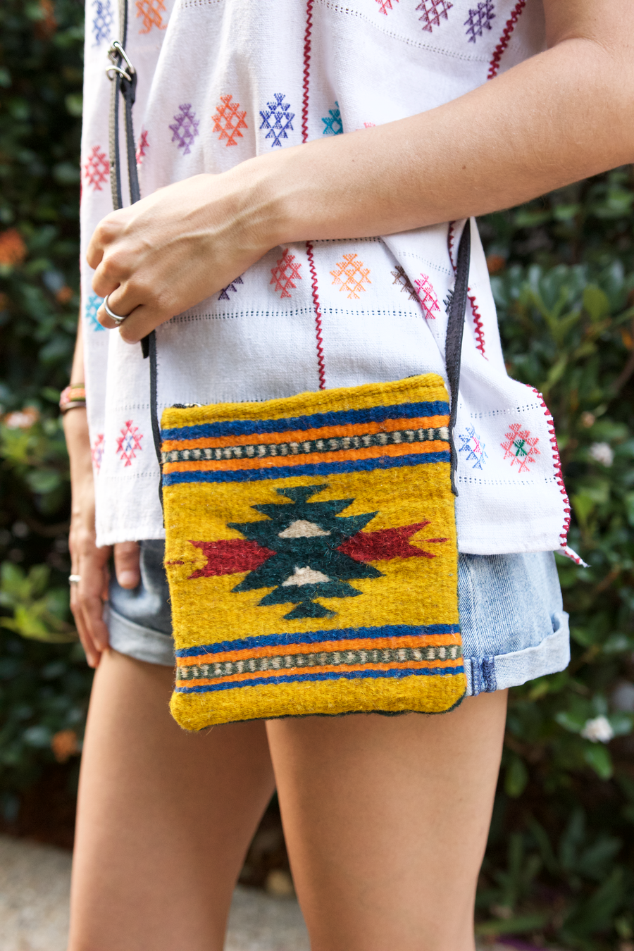 Roman Cross Body Bag  Shoulder Bag Mustard & Green - Cielo Collective handmade Mexico Guatemala
