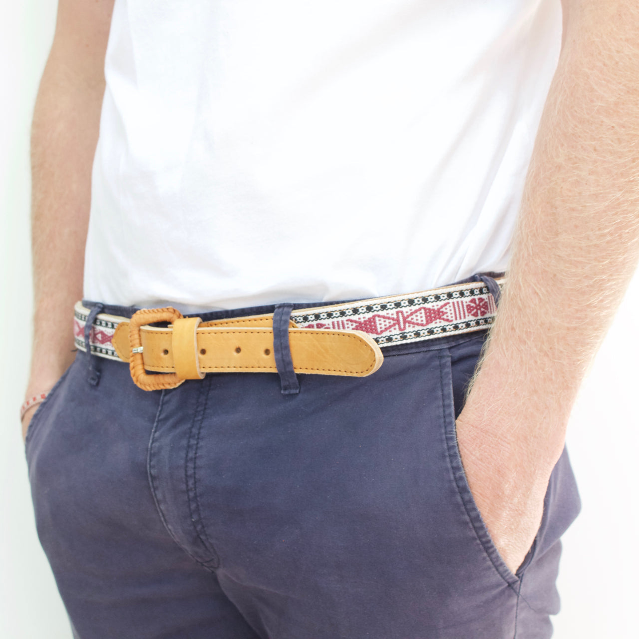 Santo Tomas Belt - Size 36 No. 07  Belt Cream - Cielo Collective handmade Mexico Guatemala